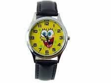 SPONGE BOB Stainless Steel BLACK LEATHER YELLOW ROUND DIAL MOVIE FILM WATCH UK