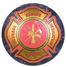 Maltese Cross Round Dome TIN SIGN vintage fire fighter dept bar wall decor OHW