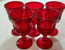 "Lot of 5 Fostoria ARGUS HFM Ruby Red Glass 5"" Wine Goblets Ford Museum 1960s"
