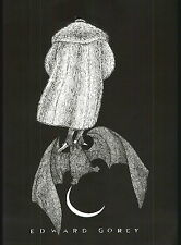 1979 EDWARD GOREY PRINT Poster Flying Bat Moon Fur Coat