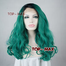 18 Inches Black Mix Green Curly Long Heat Resistant Women Lace Front Wigs