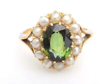 Fine Victorian 18CT Gold Green Tourmaline Seed Pearl ring size K UK, 5.5 US