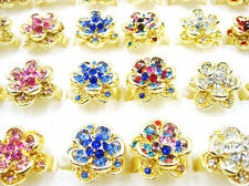 Wholesale Lots Mixed 5pcs Flower Crystal Rhinestone Gold Plated Rings FREE