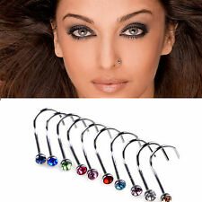 10 Pcs Men Women Nose Screw Studs Hook Rings Rhinestone Gem Exotic Piercing Bar