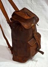 Real leather handmade backpack brown vintage soft natural shoulder rucksack bag
