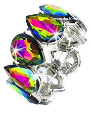 HUGE Pear Cut Mystic Topaz Borealis Rainbow Cz Crystal Tennis Stretch Bracelet