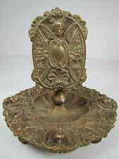 Antique Art Nouveau Bronze Match Book Holder Tray winged cherub ornate signed