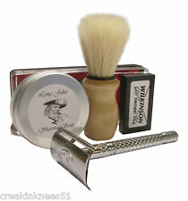 SHAVING KIT. DOUBLE EDGE SAFETY RAZOR.SOAP. BADGER HAIR BRUSH. WILKINSON BLADES