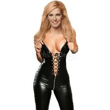 Women Lingerie Patent Leather CATSUIT CLUBWEAR Bodysuit Lace-up Jumpsuit Black