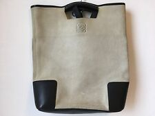 Vintage Loewe Suede Leather Bag Gray Navy Amazona collection
