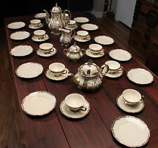 Antique Hertel Jacob Bavaria Porcelain Silver Overlay Coffee and Tea Set 39pc