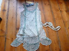 BNWT KATE MOSS CREAM/GREEN 20s DRESS, 8, TOPSHOP