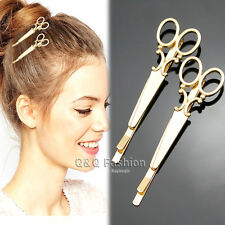 Pack 2 Gold Scissors Dressmaker French Updo Hair Dress Snap Barrette Pin Clip
