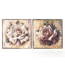 Shabby Chic Metal Wall Plaque SET OF 2 Pink Cream Roses Vintage Style