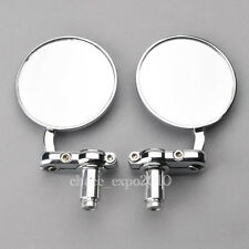 "Motorcycle CNC Aluminum 3"" Round Rearview HandleBar End 7/8"" Side Mirrors Chrome"