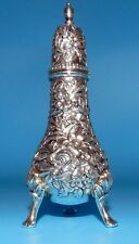 Beautiful STERLING Silver S KIRK & SON FOOTED PEPPER OR SALT SHAKER REPOUSSE