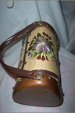 WOOD + STRAW FLOWER BARREL PURSE~PHILIPPINES VINTAGE~ ROOMY BAG