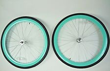 Wheelset 43mm RIMS+TIRES+TUBES Seafoam-Green/ Teal Fixie Freewheel Single Speed