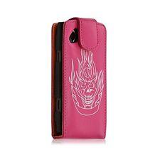 Housse coque étui pour Samsung Wave s8500 motif tête de mort rose fuschia