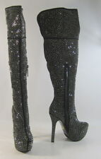 "Blacks stars 6""high heel 2""platform sexy faux suede knee boot.Size 8.5 retail 99"