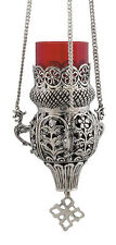 Nickel Plated 3 Chain Hanging Vigil Oil Lamp Christian Orthodox Church Kandili