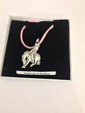 Rodeo Cowboy PP-W04 Pewter Pendant on a PINK CORD Necklace