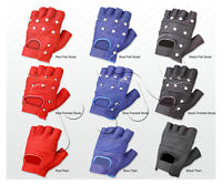 LEATHER GLOVES BIKER PUNK GOTHIC WEIGHT TRAINING GYM DRIVING CYCLING WHEELCHAIR