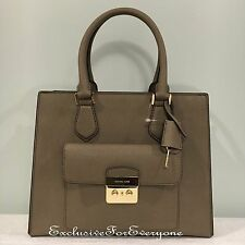 NWT Michael Kors Bridgette Dark Dune Gold Medium East West Leather Tote Bag$358