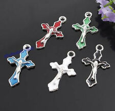 Lot 100pcs Mix Color Enamel Jesus Crucifix Cross Charm 18*30MM