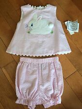 NWT BAILEY BOYS Girls Shirt Top Set Sz 12 Mo Easter Bunny Pink Boutique Bloomer