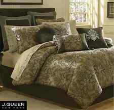 J. QUEEN New York TOSCA Queen COMFORTER Throw PILLOW Euros Taupe 7PC Set *SALE*