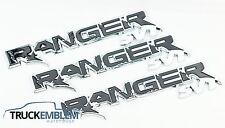 3 NEW SET OF CUSTOM CHROME AND BLACK FORD RANGER RAPTOR STYLE BADGES EMBLEMS