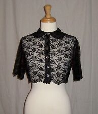 VTG 1950s SCALLOPED LACE  dress BED JACKET cropped PETER PAN collar  HIPSTER