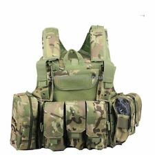 Adjustable Heavy Duty Tactical Airsoft MOLLE Combat Vest MC CP Multicam w/ pouch