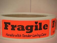 FRAGILE HANDLE WITH TENDER LOVING CARE Stickers Labels red fluorescent bkgd