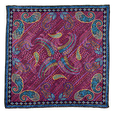 New SANTOSTEFANO Purple Blue Silk Paisley Pocket Square Handkerchief NWT $150!