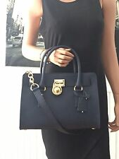 NWT Michael Kors Hamilton East West Satchel Saffiano Leather Navy Blue $298
