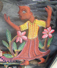 Girl and Flowers Haitian Metal Art Work Recycled Metal Wall Art  For Sale, 10""
