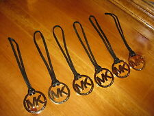 MICHAEL KORS GOLD LOGO HANG TAG CHARM WITH  BLACK LEATHER STRAP BRAND NEW