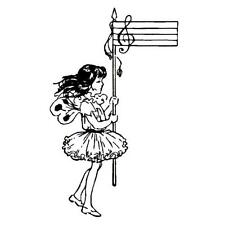MUSIC FAIRY, unmounted girl rubber stamp #10