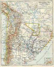 ARGENTINIEN Paraguay Chile Uruguay LANDKARTE von 1897 Bolivien