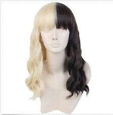 Women's Wigs Short Cosplay Half Blonde and Black Curly Hair for Melanie Martine