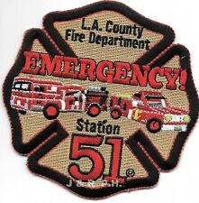 "Los Angeles Co. Station-51, CA ""EMERGENCY""  (4"" x 4"") fire patch"