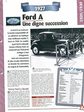 Ford A 1927  USA Car Auto FICHE FRANCE
