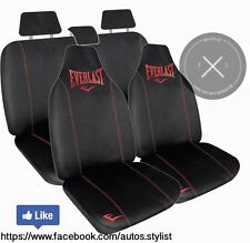 GENUINE BLACK AND RED EVERLAST CAR SEAT COVERS COMBO PACK EMBROIDERED