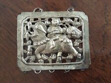 Chinese Asian Export Silver Charm Pendant Man Riding A Horse, Foo Dog?