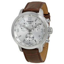 Tissot PRC 200 Chronograph Silver Dial Brown Leather Mens Watch T0554171603700