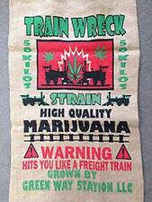TRAIN WRECK  POT LEAF MARIJUANA  BURLAP BAG  pot leaf hippie sack