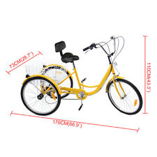 "24"" Yellow Adult Trike Bike Bicycle Tricycle 3 Wheel 6-Speed w/ 22.4"" Baskets"