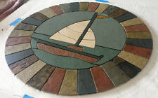 "36"" Handmade Slate, Limestone & Travertine Sailboat Mosaic Tile Medallion"